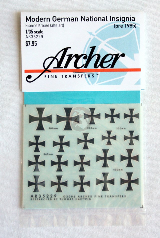 Archer 1//35 Balkenkreuz Iron Cross Markings Mix #1 German Armor WWII AR35043