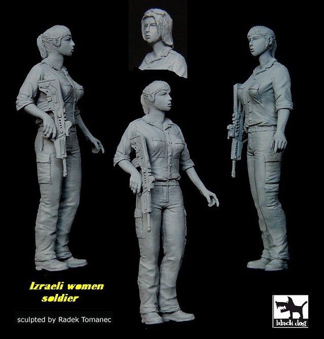 1//35 Blackdog Models ISRAELI WOMAN SOLDIER Resin Figure Mold White Soldier J7M8