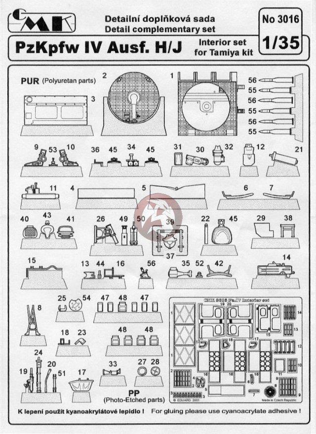 CMK 1/35 Panzerkampfwagen IV Ausf.H / Ausf.J Interior Set