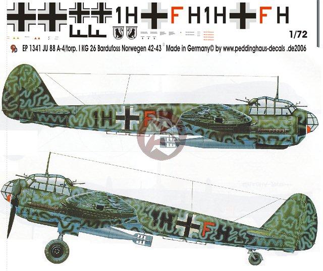 Peddinghaus 1/72 Junkers Ju 88 A-4 Markings I./KG 26