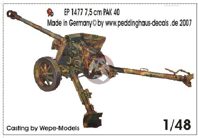 German 50 Mm Anti Tank Gun: Peddinghaus 1/48 7.5cm PaK 40 L/46 German Anti-tank Gun