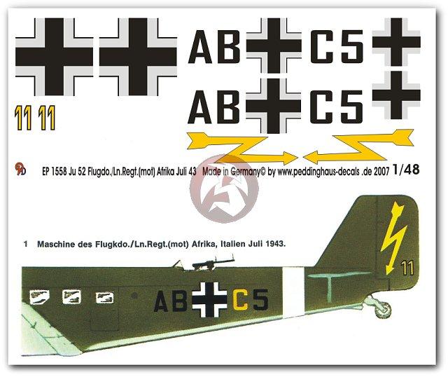 Peddinghaus Workshop Myanmar: Peddinghaus 1/48 Ju 52/3mg4e Markings Flugkdo. / Ln.Regt