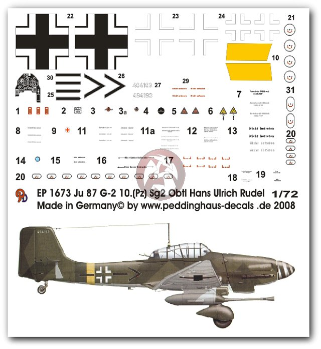 Peddinghaus Workshop Myanmar: Peddinghaus 1/72 Ju 87 G-2 Markings Hans-Ulrich Rudel Stab