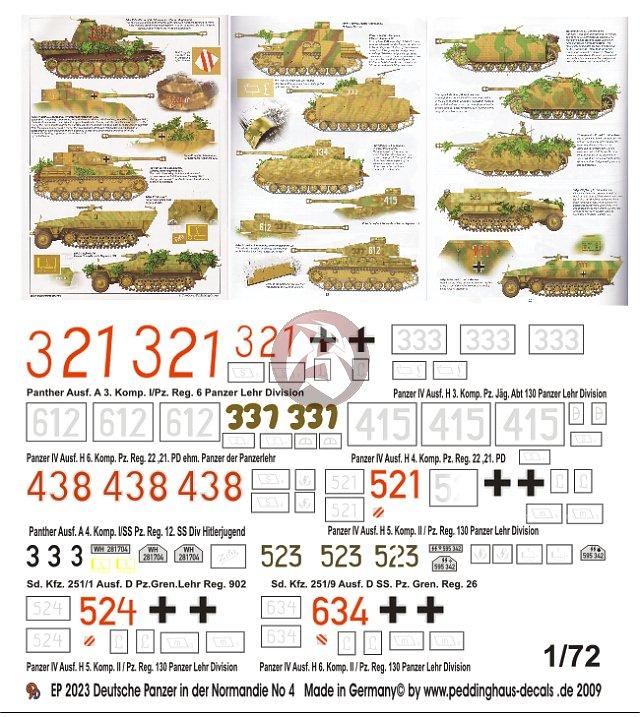 7 veh. 2022 Peddinghaus 1//72 German Tank /& Vehicle Markings Normandy WWII No.3