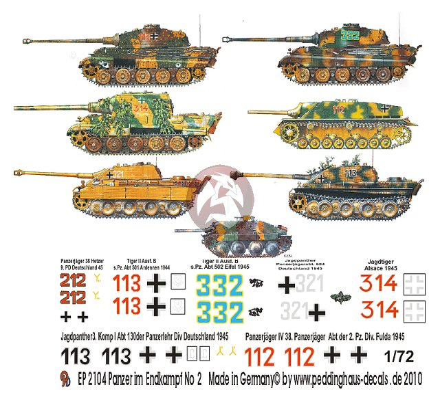 Peddinghaus Workshop Myanmar: Peddinghaus 1/72 German Tank Markings In Final Battle WWII