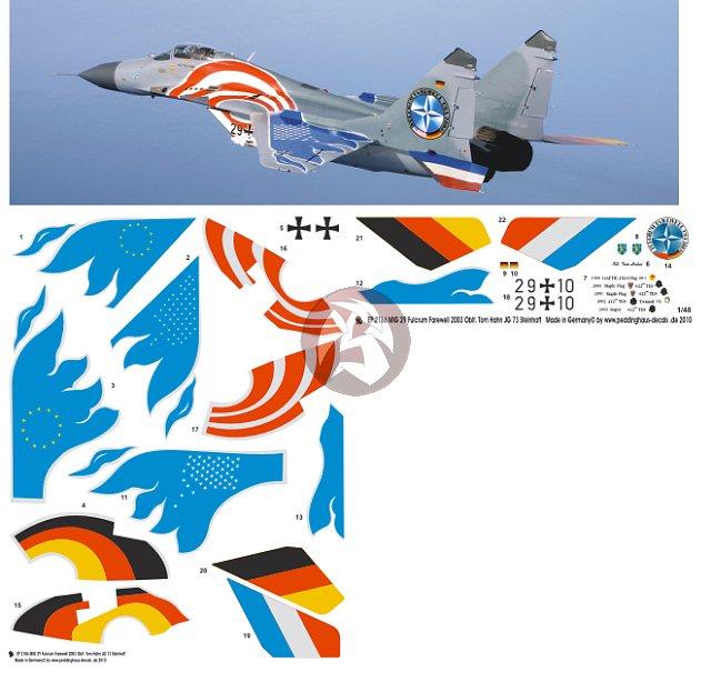 Peddinghaus Industry Singapore: Peddinghaus 1/48 MiG-29G Fulcrum Markings Tom Hahn JG 73