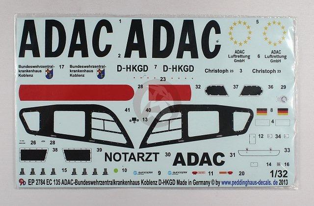 Peddinghaus-Decals 1//87 3218 EC 135 ADAC Bundeswehrkrankenhaus Koblenz
