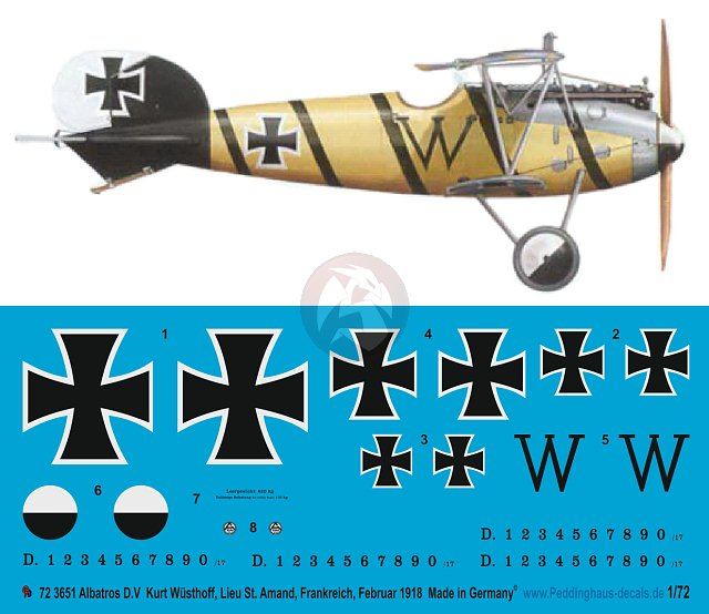 1:72 Print Scale 72-034 Decal for Albatros D.V
