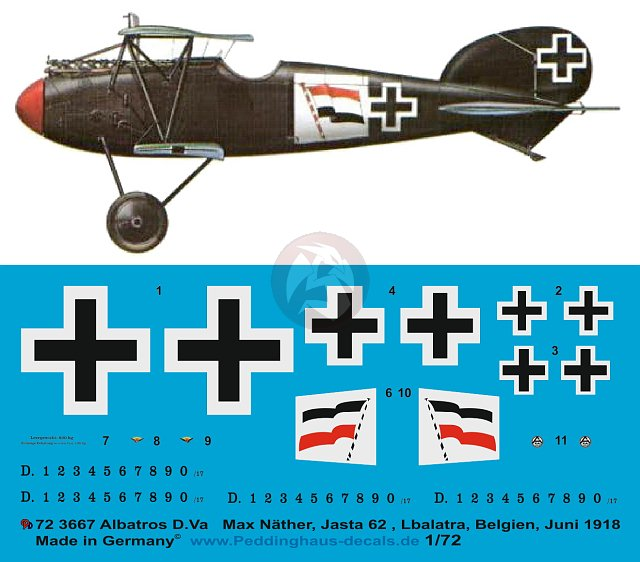 Peddinghaus 1//48 Albatros D.V Markings Xaver Dannhuber Jasta 26 Belgium WWI 3662