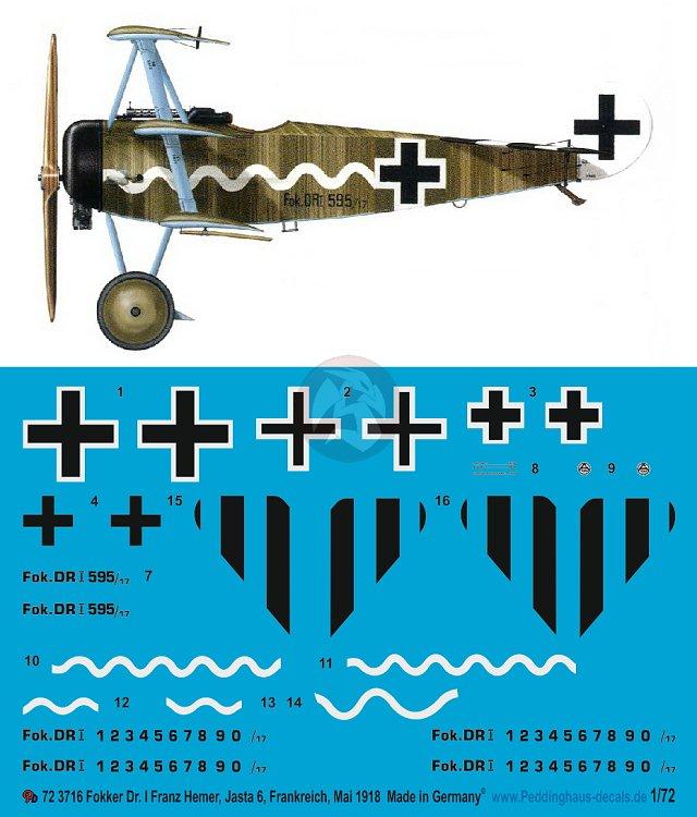 Peddinghaus 1//72 Fokker Dr.I Markings Hermann Frommherz Jasta 2 Halluin-Ost 3712